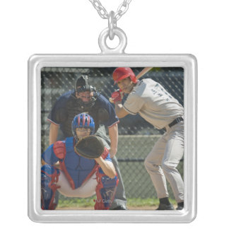 Baseball pitcher, batter and umpire in ready silver plated necklace