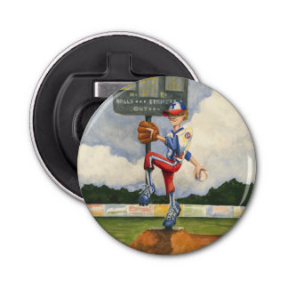 Baseball Pitcher on Mound by Jay Throckmorton Bottle Opener