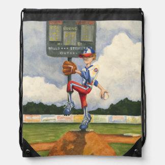 Baseball Pitcher on Mound by Jay Throckmorton Drawstring Bag