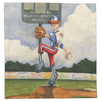 Baseball Pitcher on Mound by Jay Throckmorton Napkin