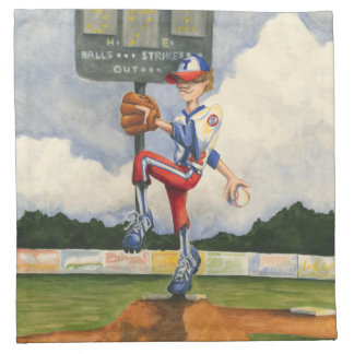 Baseball Pitcher on Mound by Jay Throckmorton Printed Napkins