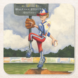 Baseball Pitcher on Mound by Jay Throckmorton Square Paper Coaster