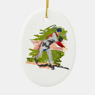 Baseball Pitcher Pitching Ceramic Oval Decoration