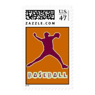 Baseball Pitcher Postage Stamp