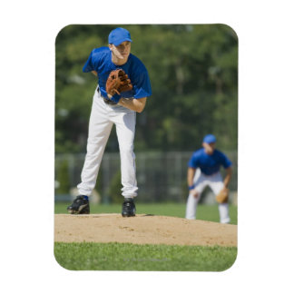 Baseball pitcher preparing to pitch ball rectangle magnet