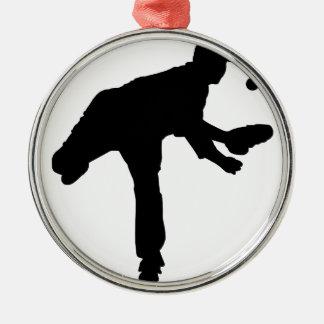 Baseball Pitcher Silhouette Christmas Ornament