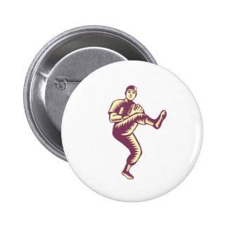 Baseball Pitcher Throwing Ball Woodcut 6 Cm Round Badge
