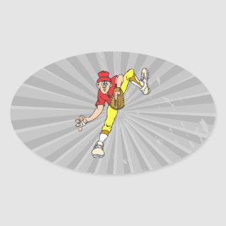 baseball pitcher windup oval sticker
