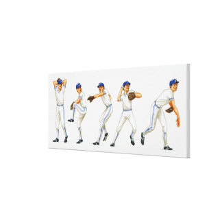 Baseball pitching technique, multiple image canvas print