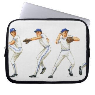 Baseball pitching technique, multiple image laptop sleeve