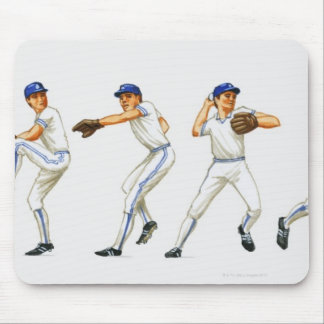 Baseball pitching technique, multiple image mouse mat