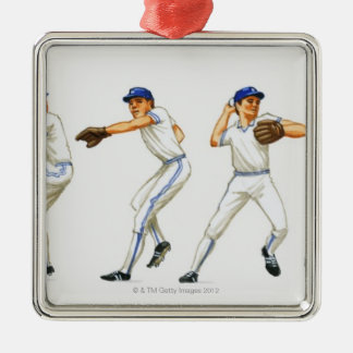 Baseball pitching technique, multiple image Silver-Colored square decoration