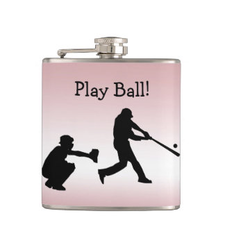 Baseball Play Ball Pink Girly Sports Flask