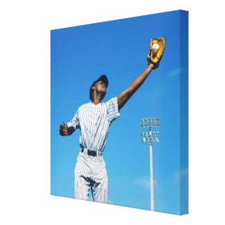 baseball player (16-20) catching ball in canvas print
