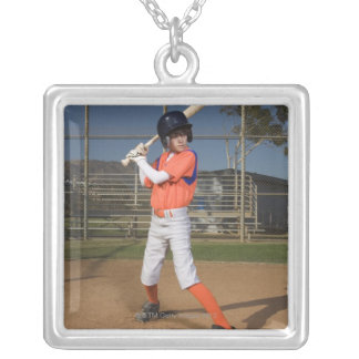 Baseball player 3 silver plated necklace