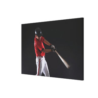 Baseball player about to hit the ball canvas print