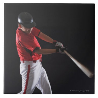 Baseball player about to hit the ball large square tile