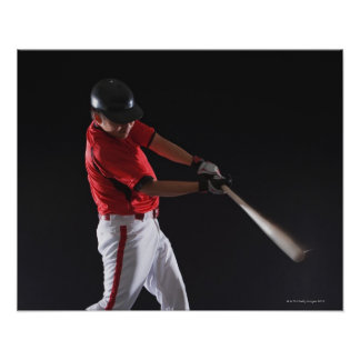 Baseball player about to hit the ball poster