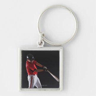 Baseball player about to hit the ball Silver-Colored square key ring