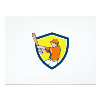 Baseball Player Batter Swinging Bat Crest Cartoon 17 Cm X 22 Cm Invitation Card