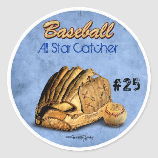 Baseball Player - blue Round Sticker