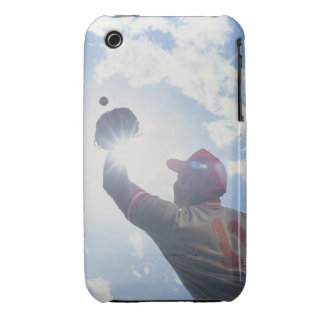 Baseball player catching ball with sun in his iPhone 3 cases