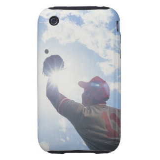 Baseball player catching ball with sun in his iPhone 3 tough cases