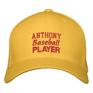BASEBALL Player GOLD Embroidered Hat Custom Name