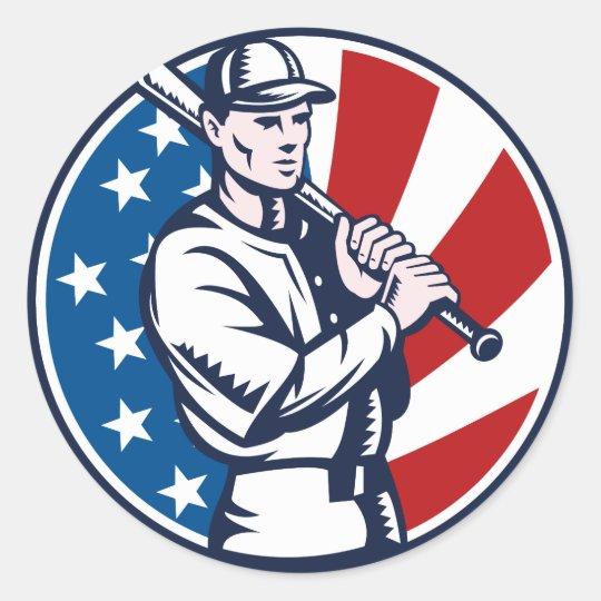 Baseball player holding bat american flag woodcut round sticker