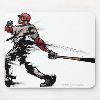 Baseball player holding bat, side view mouse mat