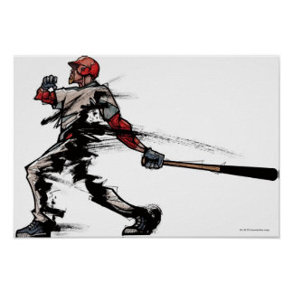 Baseball player holding bat, side view poster