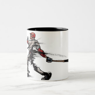 Baseball player holding bat, side view Two-Tone coffee mug
