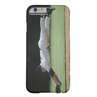 Baseball player in mid-air catching ball. barely there iPhone 6 case