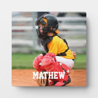 Baseball Player Kid Photo Customize Display Plaque