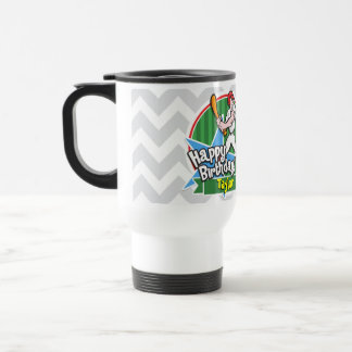 Baseball Player on Light Gray and White Chevron Coffee Mugs