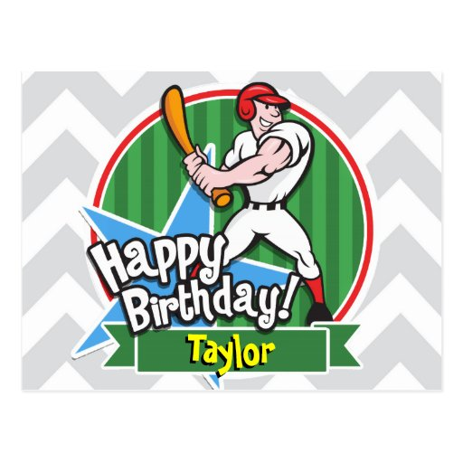 Baseball Player on Light Gray and White Chevron Postcard