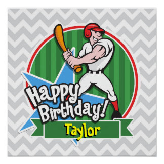 Baseball Player on Light Gray and White Chevron Poster