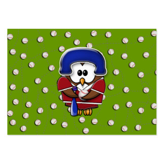 baseball player owl large business cards (Pack of 100)