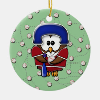 baseball player owl christmas ornament