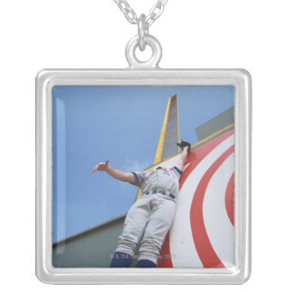 Baseball Player Reaching for Ball Silver Plated Necklace