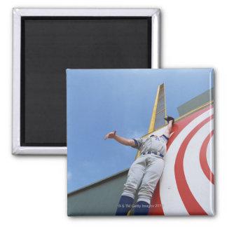 Baseball Player Reaching for Ball Square Magnet