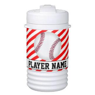 Baseball Player Red & White Stripes Custom Cooler