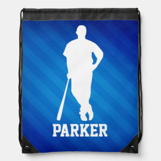Baseball Player; Royal Blue Stripes Drawstring Bag