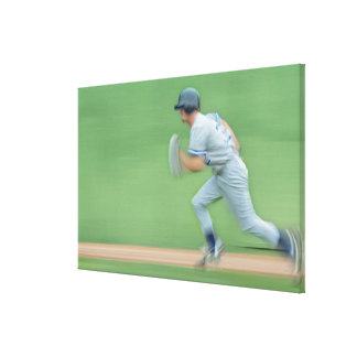 Baseball Player Running to Base Canvas Print