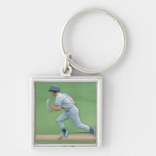 Baseball Player Running to Base Keychains
