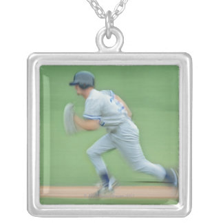 Baseball Player Running to Base Square Pendant Necklace