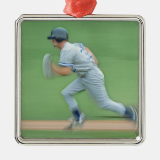 Baseball Player Running to Base Silver-Colored Square Decoration