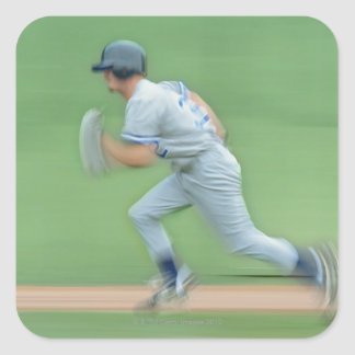 Baseball Player Running to Base Square Sticker