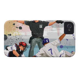 Baseball player safe at home plate Case-Mate iPhone 4 case