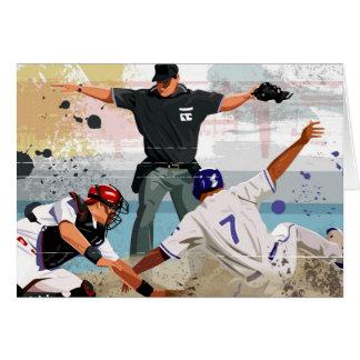 Baseball player safe at home plate greeting card